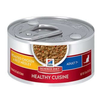 Hills Feline Mature Adult Pouches Chicken and Rice stew tin 79g