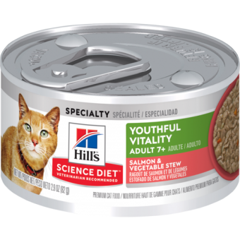Hill's Adult 7+ Senior Vitality Wet Cat Food Salmon and Vegetable Flavour 82g